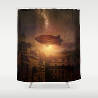 bioshock Shower Curtains featuring A Trip down the Sunset II by Viviana Gonzalez