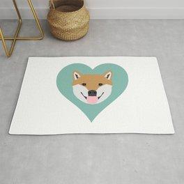 Shiba Love - Heart shiba inu funny dog for dog lovers pet gifts customizable dog meme dog person Rug