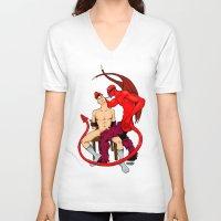 diablo V-neck T-shirts featuring El Diablo by drubskin