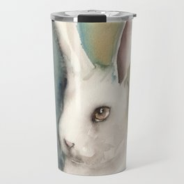 Portrait of a White Rabbit Travel Mug