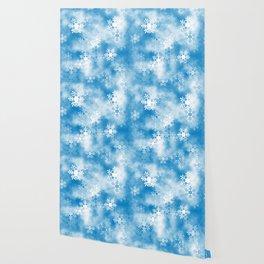 Christmas Elements Blue White Snowflakes Design Pattern Wallpaper