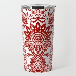 Damask in red Travel Mug