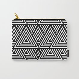 Triangle Pattern Black And White Carry-All Pouch