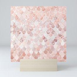 Mermaid Scales Pattern, Blush Pink and Rose Gold Mini Art Print