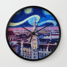 Starry Night In Munich Van Gogh Inspirations with Church of Our Lady and City Hall Wall Clock