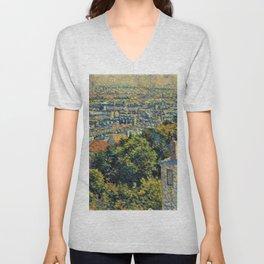 Classical Masterpiece 1900 'Paris - Montmartre' by Maximilien Luce Unisex V-Neck