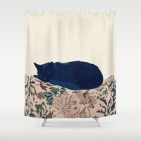 kitty Shower Curtains featuring Kitty by Anna McKay