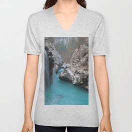 Little Waterfall At Rock Crevice Unisex V-Neck