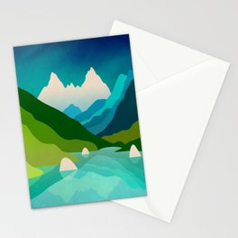 High mountain peaks over lake Stationery Cards