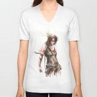 lara croft V-neck T-shirts featuring Lara by Alonzo Canto