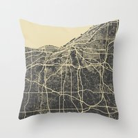 cleveland Throw Pillows featuring Cleveland map by Map Map Maps