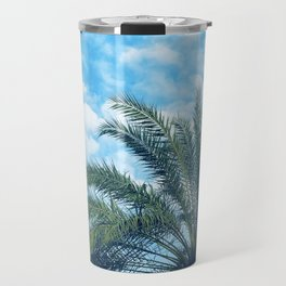 Big Blue Sky, Puffy Clouds, and Palm Trees Travel Mug