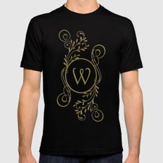 Letter W MEDIUM Black Mens Fitted Tee