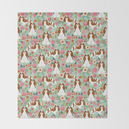 Blenheim Cavalier King Charles Spaniel dog breed florals pattern Throw Blanket