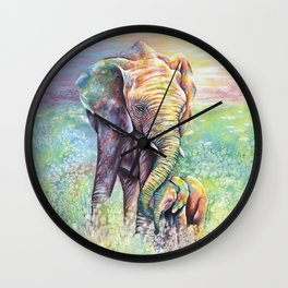Colorful Mother Elephant and Baby Wall Clock