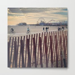 People cycling on Santa Monica beach, California, USA Metal Print