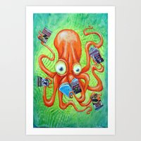 comic book Art Prints featuring Comic Book Octopus by Bili Kribbs