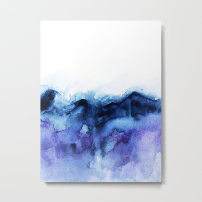 Abstract Indigo Purple Mountians Metal Print