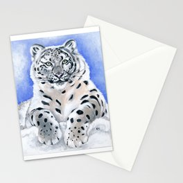 Snow Leopard Pose Stationery Cards