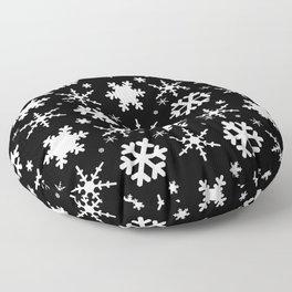 Snowflakes Black Floor Pillow