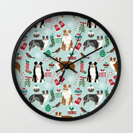 Australian Shepherd christmas festive holiday dog breed gifts for holidays Wall Clock