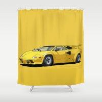 lamborghini Shower Curtains featuring Lamborghini Countach 5000QV Oro Sahara (US spec) by Digital Car Art