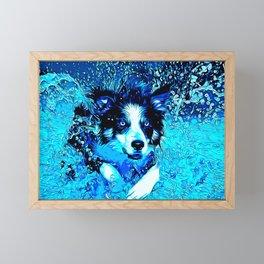 border collie jumping in water vector art crisp winter Framed Mini Art Print