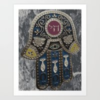 jewish Art Prints featuring Jewish Hamsa by Debra Slonim Art & Design