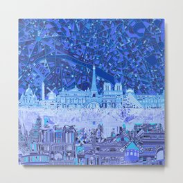 Paris skyline abstract blue 2 Metal Print
