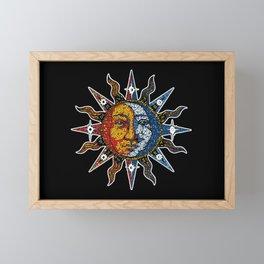 Celestial Mosaic Sun and Moon Framed Mini Art Print