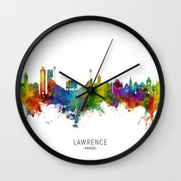 Lawrence Kansas Skyline Wall Clock