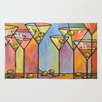 alcohol Area & Throw Rugs featuring Martini Bar ... Abstract alcohol art by Amy Giacomelli