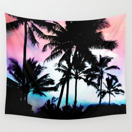 Sunset Summer Palm Trees Wall Tapestry