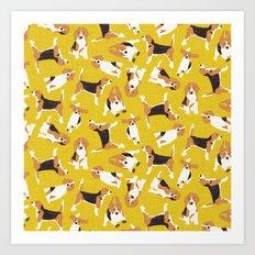 beagle scatter yellow Art Print