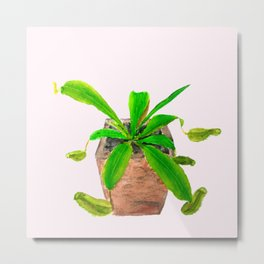 tropical pitcher plant watercolor painting Metal Print
