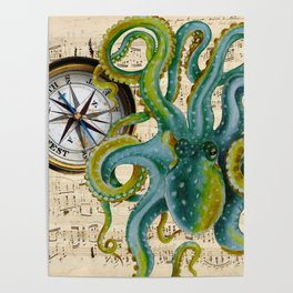 Octopus Compass Green Music Collage Poster