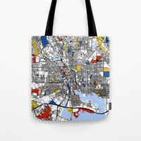 baltimore Tote Bags featuring Baltimore Mondrian by Mondrian Maps