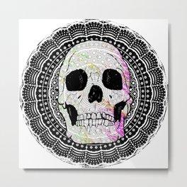 Sugar Skull Mandala Metal Print