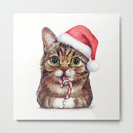 Christmas Cat in Santa Hat Whimsical Holiday Animals Metal Print