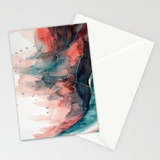 Watercolor dark green & red, abstract texture Stationery Cards