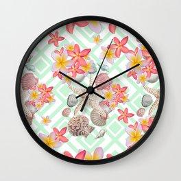 Modern tropical flowers seashells geometric design Wall Clock