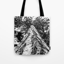 Squirrel View // Climbing Tall Tree Trunks // Winter Landscape Snowy Decor Photography Tote Bag