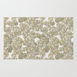 Old British Pound Coins Repeating Pattern Rug