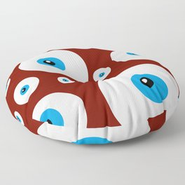 All eyes on you - lots of blue eyes in red background Floor Pillow