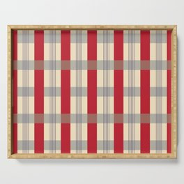 Red Striped Plaid Serving Tray