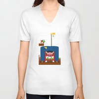 mario V-neck T-shirts featuring Mario by Ryan Miller