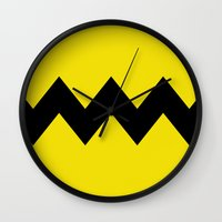 charlie brown Wall Clocks featuring Charlie Brown by Dustin Hall