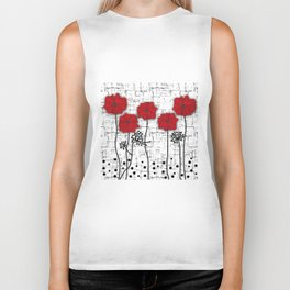 Poppies red n white background . Biker Tank
