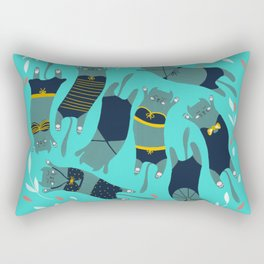 Swimsuit Cats in Turquoise Rectangular Pillow