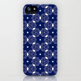 Shibori Stars (white and dark blue) iPhone Case
